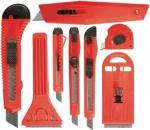 Набор ножей, выдвижные лезвия, 9мм-4, 18мм-2,+скребки выдвижн. фиксир.лезв.,40-52мм,2шт, MATRIX, 78991