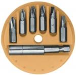 Набор бит, CR-V, 6 шт (25 мм) + адаптер для бит в пластиковом картридже, КОНТРФОРС, 129210